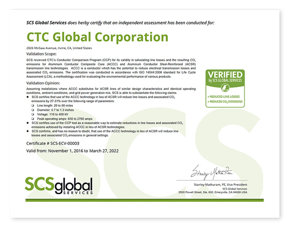 CTC Global SCS Certificate to 032722